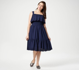 Isaac Mizrahi Live! Smocked Tiered Dress with Eyelet Detail