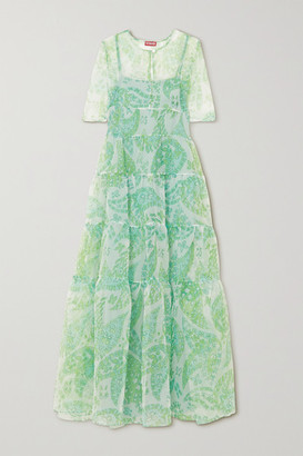 STAUD Cocoon Tiered Paisley-print Organza Maxi Dress - Green