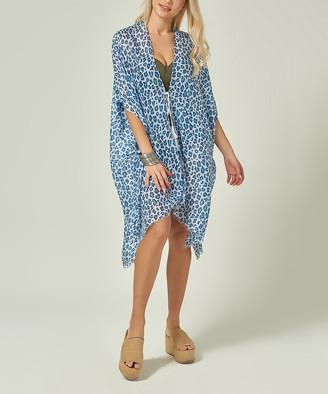 Simmly Women's Swimsuit Coverups Blue - Blue Leopard Sheer Tassel-Tie Cover-Up - Women
