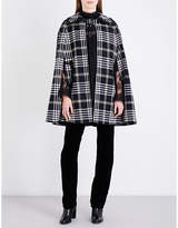 Anna Sui Tartan wool-blend cape