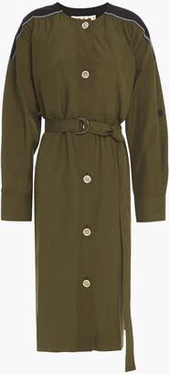 Marni Belted Two-tone Cotton-poplin Midi Dress