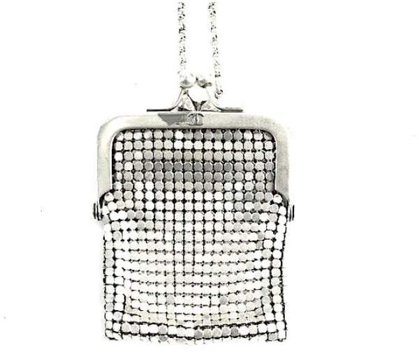 Chanel Kisslock Silver-Tone Mesh Minaudiere Crossbody Coin Pouch Necklace