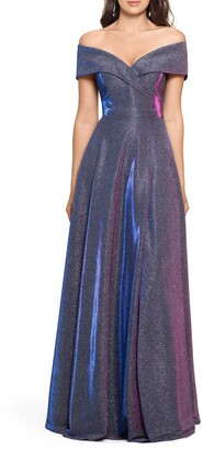 Xscape Evenings Off the Shoulder Glitter Gown