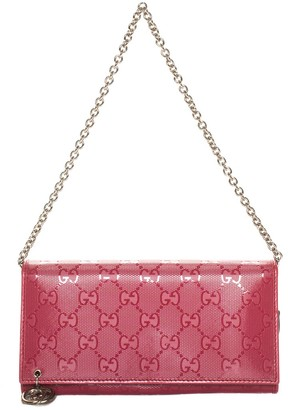 Gucci Red Leather Bifold Wallet On Chain