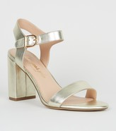 Leather Look 2 Part Block Heel Sandals