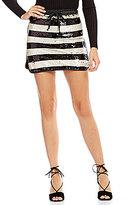 Gianni Bini Jamie Stripe Sequin Mini Skirt