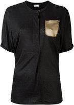 Brunello Cucinelli silk pocket T-shirt - women - Silk/Linen/Flax/Brass - S