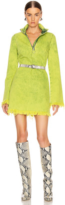 Marques Almeida Marques ' Almeida Classic Long Sleeve Short Dress in Lime | FWRD
