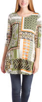 Glam Green & Black Scarf-Print Scoop Neck Maternity Tunic
