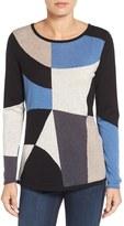 Nic+Zoe Women's Blocked Cotton Blend Intarsia Sweater