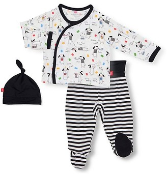 Magnetic Me Baby Boy's Raise The Woof 3-Piece Hat, Dog Cardigan & Footie Leggings Set