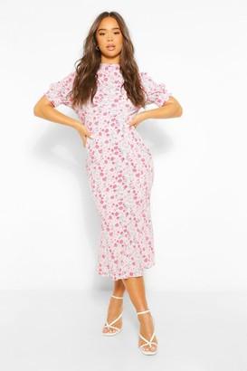 boohoo Floral Draped Puff Sleeve Midaxi Dress