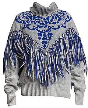 Sacai Women's Floral Knit Fringe Wool Turtleneck Sweater