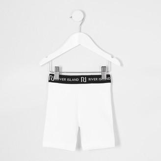 River Island Mini girls White RI cycling shorts