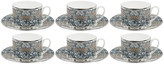 Roberto Cavalli Platinum Palazzo Pitti Teacups & Saucers - Set of 6