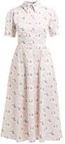 Emilia Wickstead Sienna Boat-print Midi Dress - Womens - Pink Print
