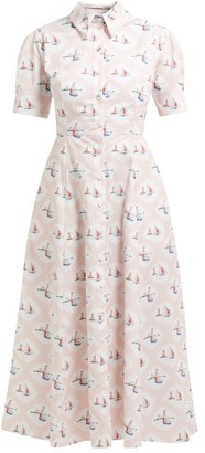 Emilia Wickstead Sienna Boat-print Midi Dress - Womens - Pink Print