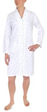 Miss Elaine Floral-Print Short Snap Robe