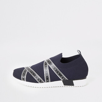 River Island Boys navy Svnth knitted runner trainers