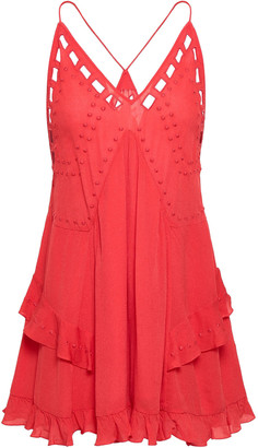 IRO Cutout Embroidered Crepe Top