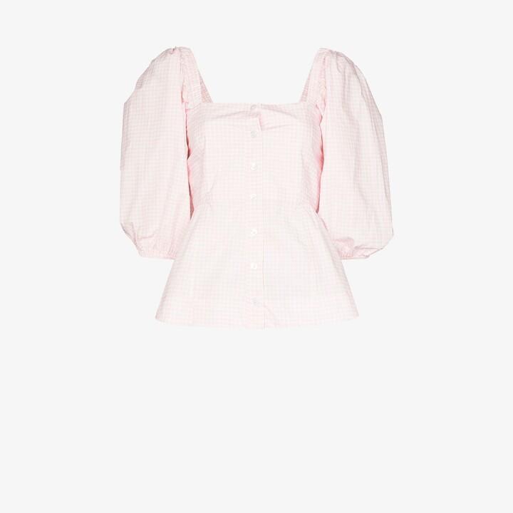 Ganni X Browns 50 gingham peplum blouse