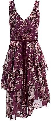 Marchesa Notte Floral Velvet Burnout A-Line Dress