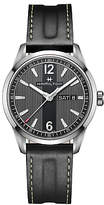 Hamilton H43311735 Men's Broadway Day Date Leather Strap Watch, Black