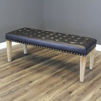 Whipton Faux Leather Bench Gracie Oaks Upholstery : Black