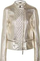 Roberto Cavalli Metallic Paneled Laser-Cut Quilted And Cracked-Leather Jacket