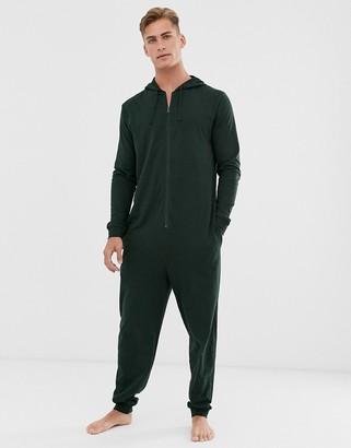 Asos Design DESIGN hooded lounge onesie in khaki-Green