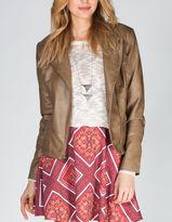 BB Dakota Harlet Womens Faux Leather Moto Jacket