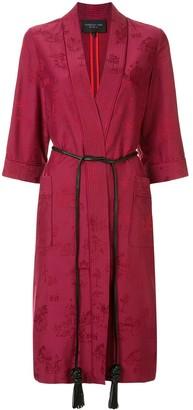 Shanghai Tang Chinoiseries jacquard satin kimono robe