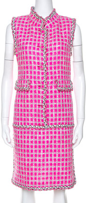 Chanel Pink Tweed Sleeveless Dress L