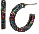 Betsey Johnson Confetti Multi Pave Hoop Earring