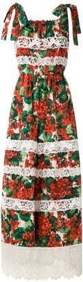 Dolce & Gabbana Portofino print lace inserts dress
