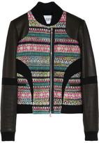Prabal Gurung Leather-sleeved metallic tweed bomber jacket