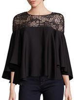 Milly Angie Geometric Sequin Silk Blend Top
