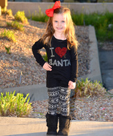 Beary Basics Black 'I Love Santa' Top & Leggings - Toddler & Girls