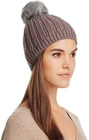 UGG Solid Ribbed Beanie with Shearling Sheepskin Pom-Pom