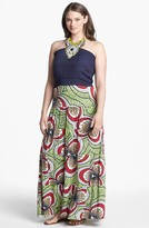 T-Bags Tbags Los Angeles Mixed Media Halter Maxi Dress (Plus Size)