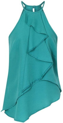 Hotsquash HotSquash Ruffle Halter Neck Top in Clever Fabric