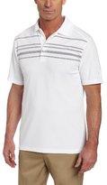PGA TOUR Men's Short Sleeve Rope Argyle Engineer Print Stripe Polo Shirt