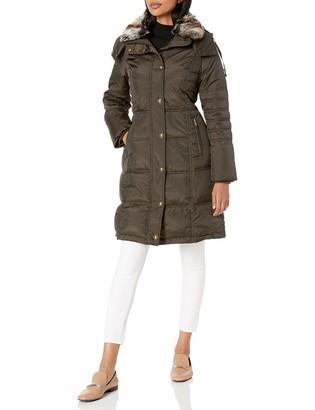 London Fog Women's Chevron Coat with Faux Fur Trimmed Hood