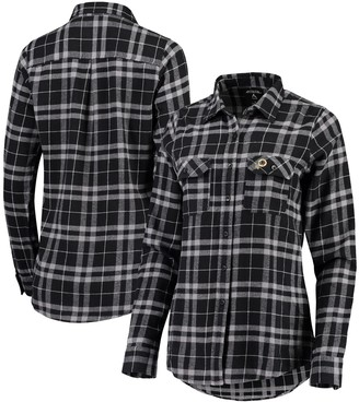 Antigua Women's Black/Gray Washington Redskins Stance Flannel Button-Up Long Sleeve Shirt