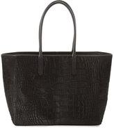Ralph Lauren Croc-Embossed Calf Hair Shopper Tote Bag, Black