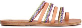 Ancient Greek Sandals Niki Braided Raffia And Leather Slides