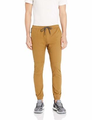 Brooklyn Athletics Men's Twill Jogger Pants Slim Stretch Zipper Pocket Trousers