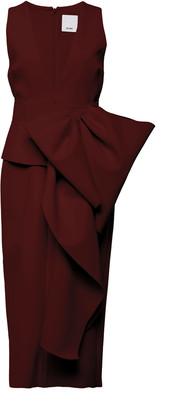 Acler Mancroft V-Neck Folded Stretch-Crepe Dress