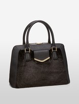 Calvin Klein Saffiano Leather Faux Fur Satchel