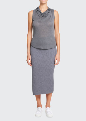 Theory Cowl-Neck Sleeveless Knit Top